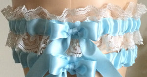 Blue and Ivory Lace Wedding Garter Set, Prom Garter