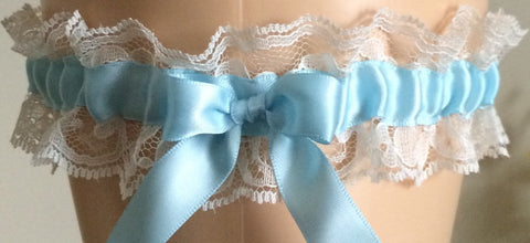 Blue and Ivory Lace Wedding Garter, Prom Garter