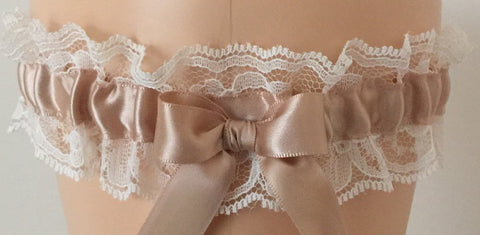 Tan and Ivory Lace Wedding Garter, Bridal Garter, Prom Garter, Garter Belt, Lace Garter, Plus Size Garter, Bridal Garters for Weddings