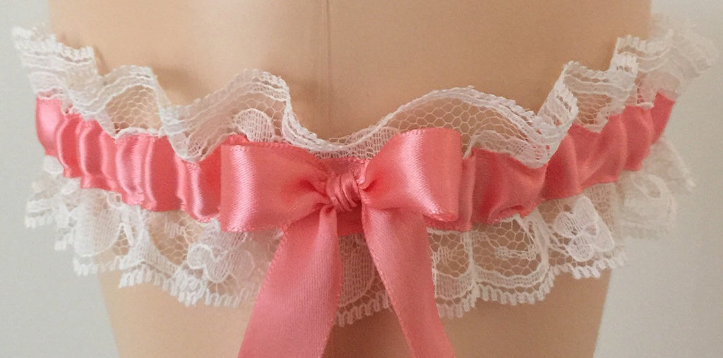 Coral and Ivory Lace Wedding Garter, Bridal Garter, Prom Garter, Garter Belt, Lace Garter, Plus Size Garter, Bridal Garters for Weddings