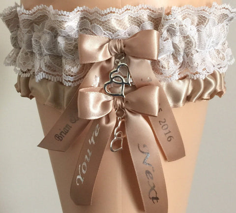 New Tan and White Lace Wedding Garter Set, Bridal Garter, Prom Garter, Lace Garter, Garters for Weddings, Garter, Bridal Gift