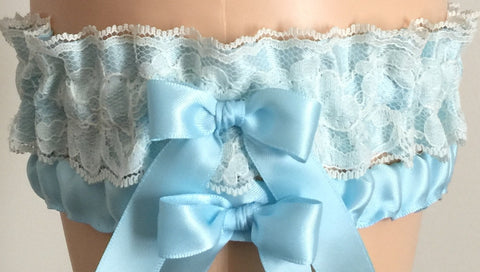 Blue and Ivory Lace Wedding Garter Set, Prom Garter Set