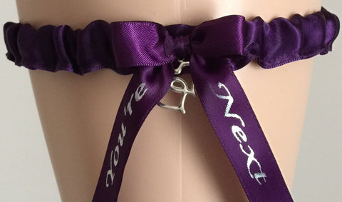 Plum Purple You're Next Wedding Garter