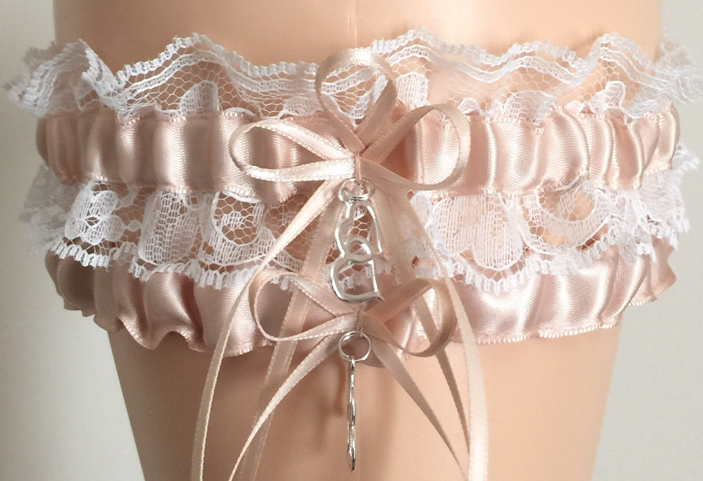 Blush and White Lace Bridal Wedding Garter, Prom Garter