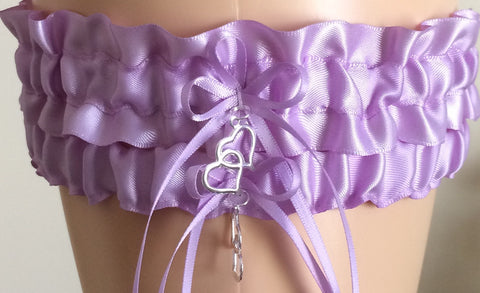 Orchid Purple Bridal Garter Set, Prom Garter