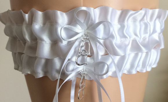White Wedding Garter Set, Prom Garter Set