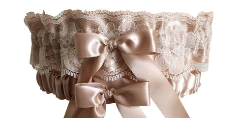Tan Satin and Lace Wedding Garter Set, Prom Garter Set