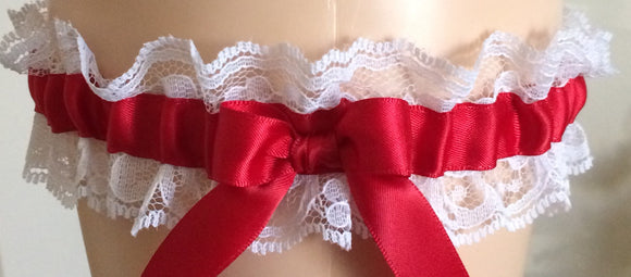 Red and White Lace Wedding Garter, Prom Garter