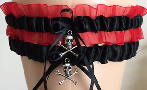 Black and Red Organza Wedding Garter Set, Prom Garter Set
