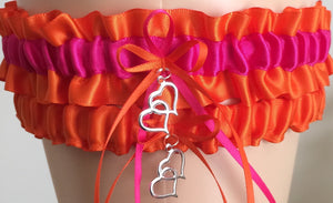 Orange and Fuchsia Pink Wedding Garter Set, Prom Garter Set