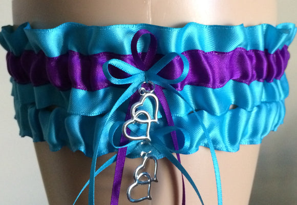 Turquoise and Purple Wedding Garter Set, Prom Garter Set