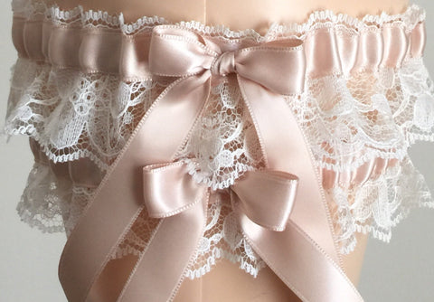 Blush and Ivory Lace Wedding Garter Set, Prom Garter