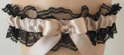 Blush and Black Lace Wedding Garter, Bridal Garter