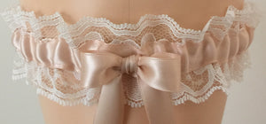 Blush and Ivory Lace Wedding Garter, Bridal Garter