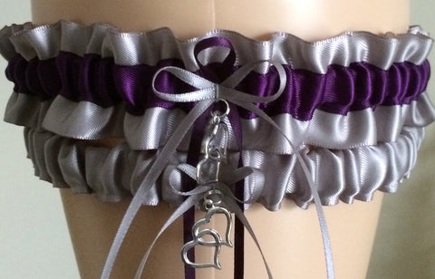 Silver and Plum Purple Wedding Garter Set, Prom Garter Set