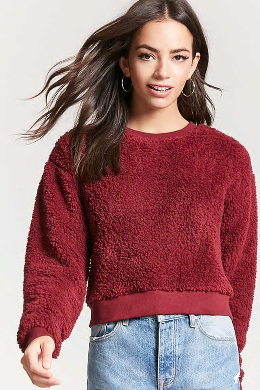 Burgundy Fuzzy Faux Shearling Sweater