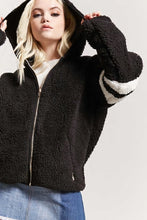 Load image into Gallery viewer, Varsity Faux Shearling Hooded Jacket