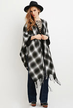 Load image into Gallery viewer, FRINGED PLAID PONCHO