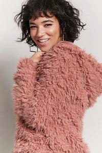 Pink-Ish Shaggy Faux Fur Hooded Jacket