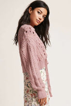 Load image into Gallery viewer, Lace Up Cropped Cable Knit Sweater