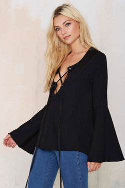 Lace Up Bell long sleeve Top