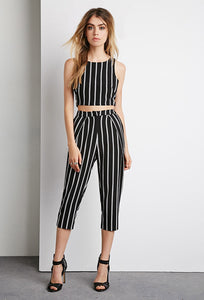 Striped High-Waist Capri