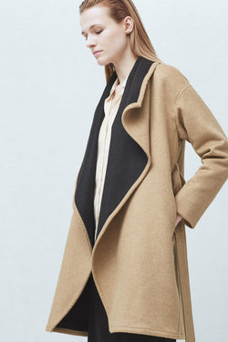 Mango Wide lapel Wool Blend Coat