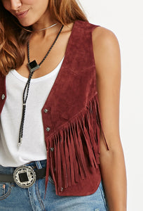 Genuine Suede Fringed Boho Vest