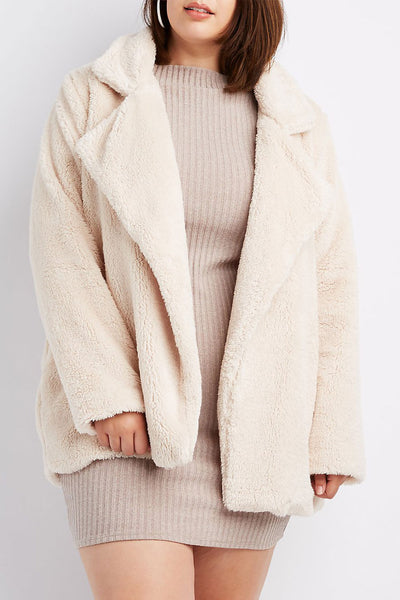 Curvy Camel Faux Fur Notched Lapel Coat
