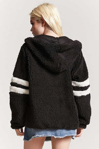 Varsity Faux Shearling Hooded Jacket