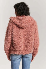 Load image into Gallery viewer, Pink-Ish Shaggy Faux Fur Hooded Jacket