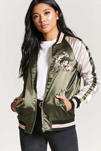 Load image into Gallery viewer, Satin Embroidered Quilted Bomber Jacket