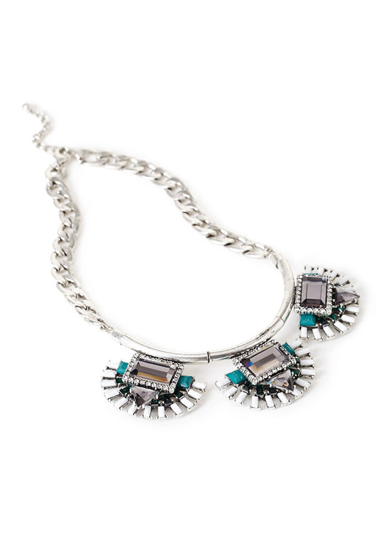 Faux Gem Stone Statement Necklace
