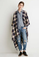 FRINGED PLAID PONCHO