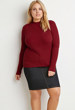 CURVY RIBBED MOCK NECK SWEATER