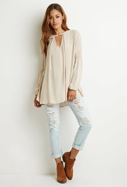 Cutout Neck Trapeze Blouse
