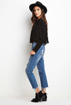 GENUINE SUEDE FRINGE BOHO JACKET