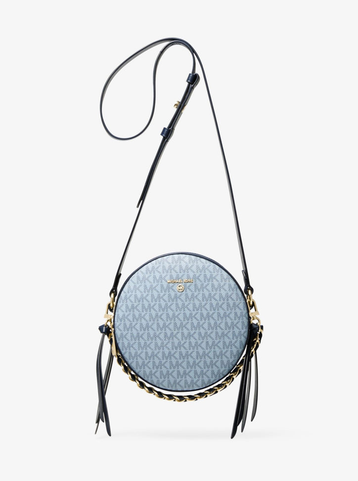MICHAEL KORS Delancey Medium Two-Tone Logo and Leather Canteen Crossbody Bag-Blue