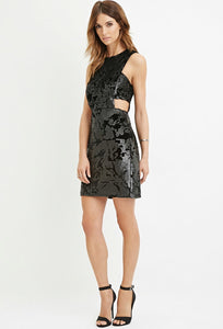Cut Out Sequin And Velvet Dress