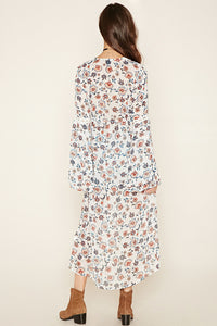 Floral Long Dress Cardigan