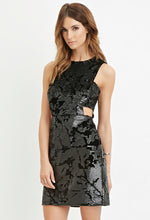 Load image into Gallery viewer, Cut Out Sequin And Velvet Dress