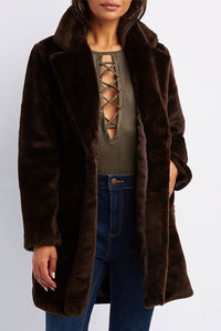 Brown Longline Faux Fur Coat