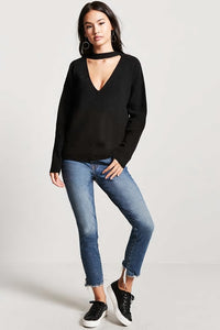 Cut Out V Nick Sweater