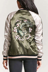 Satin Embroidered Quilted Bomber Jacket