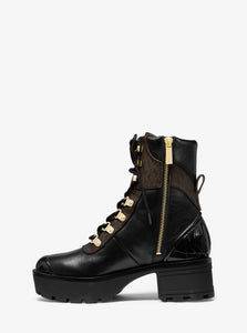 MICHAEL MICHAEL KORS  Leather and Logo Combat Boot