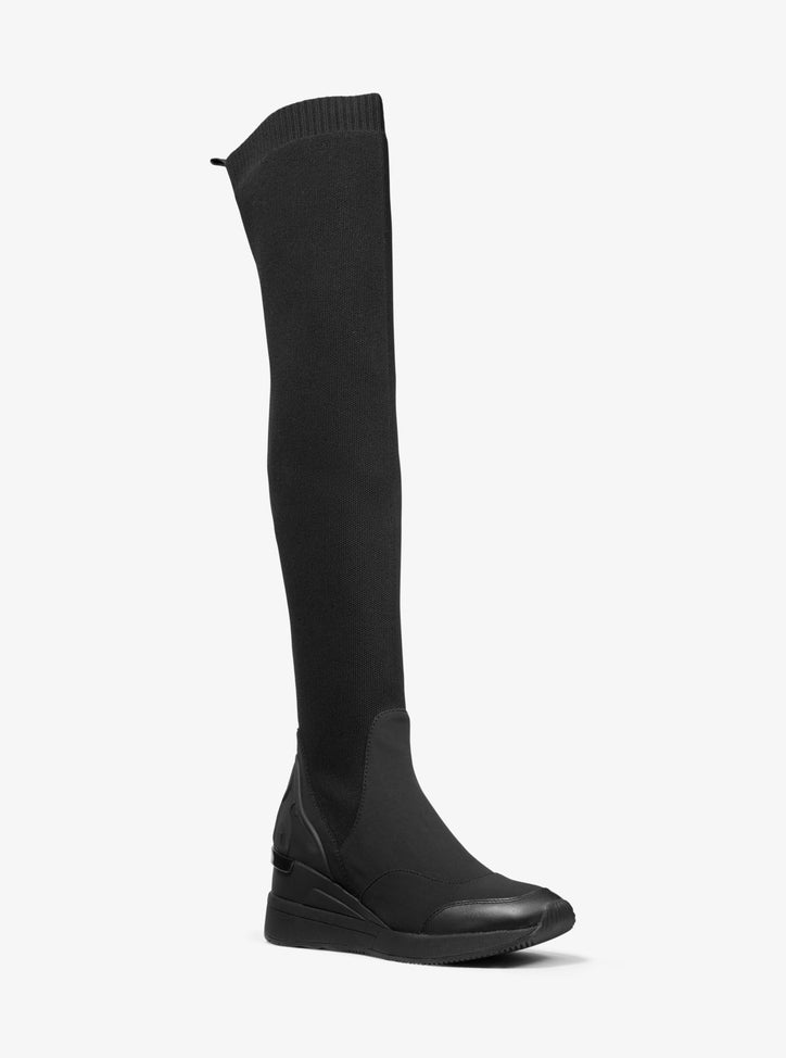 MICHAEL MICHAEL KORS  Stretch Knit and Scuba Over-the-Knee Boot