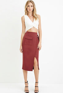 D-RING SLIT PENCIL SKIRT
