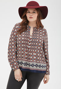 Curvy Abstract Print Blouse