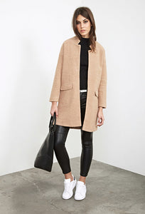 WOOL BLEND OPEN FRONT COAT