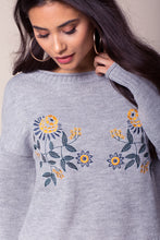 Load image into Gallery viewer, Grey Embroidered Sweater